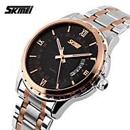 billige Pæne ure-SKMEI Herre Quartz Japansk Quartz Armbåndsur Kalender Vandafvisende Rustfrit stål Bånd Vedhæng Sølv