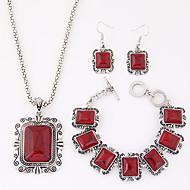 abordables Turquesa-Mujer Turquesa Conjunto de joyas - Resina, Turquesa Lujo, Europeo Incluir Rojo / Azul Para Fiesta Diario Casual / Pendientes / Collare / Pulsera