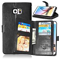 Недорогие Чехлы и кейсы для Galaxy S6 Edge Plus-Кейс для Назначение SSamsung Galaxy Samsung Galaxy S7 Edge Бумажник для карт Кошелек со стендом Флип Чехол Сплошной цвет Кожа PU для S7