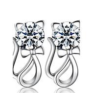 Dames Oorknopjes imitatie Diamond Modieus Luxe Sieraden Kostuum juwelen Parel Sterling zilver Gesimuleerde diamant Dierenvorm Kat Sieraden