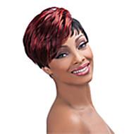 halpa -Synteettiset peruukit Suora Tiheys Suojuksettomat Naisten Punainen musta Wig Lyhyt Synteettiset hiukset