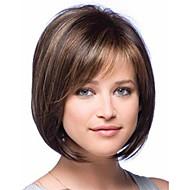 Naisten Synteettiset peruukit Koneella valmistettu Lyhyt Suora Ruskea Raidoitetut hiukset Sivuosa Bob-leikkaus Otsatukalla Luonnollinen