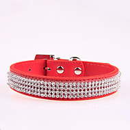 cheap Pet Supplies Accessories-Dog Collar Adjustable / Retractable Rhinestone PU Leather Black Rose Red Blue Pink