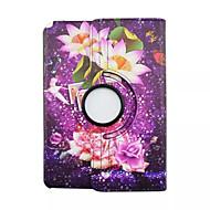Недорогие Чехлы и кейсы для Galaxy Tab A 9.7-Для Кейс для  Samsung Galaxy со стендом / Флип / Поворот на 360° / С узором Кейс для Чехол Кейс для Цветы Искусственная кожа SamsungTab A