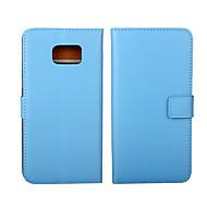 olcso Galaxy S6 Edge Plus tokok-Mert Samsung Galaxy tok Kártyatartó / Pénztárca / Állvánnyal / Flip Case Teljes védelem Case Egyszínű Valódi bőr SamsungS6 edge plus / S6