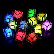 24pcs bleu / rouge / vert / rose / jaune / rgb / blanc glaçons led light party bar de mariage restaurant