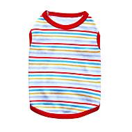 お買い得  -ネコ 犬 Tシャツ 犬用ウェア 縞柄 ブラック オレンジ レッド グリーン ブルー コットン コスチューム ペット用 男性用 女性用 ファッション