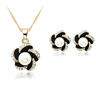 cheap Floral Jewelry-Women's Pearl Jewelry Set - Pearl, Imitation Pearl, Rhinestone Include Necklace / Earrings Black For Wedding Party Daily / Silver Plated