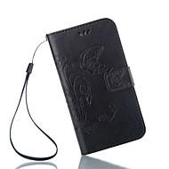 Для Кейс для  Samsung Galaxy Бумажник для карт / со стендом / Флип / Магнитный / Рельефный Кейс для Чехол Кейс для БабочкаИскусственная