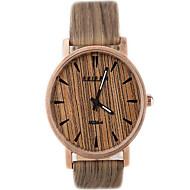 Damen Herrn Unisex Modeuhr Uhr Holz Quartz Leder Band Weiß Braun Grau Gelb Mehrfarbig Beige