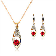 Women's Jewelry Set Necklace/Earrings Crystal Wedding Party Daily Rose Gold Crystal Rhinestone Rose Gold Plated Alloy Earrings Necklaces