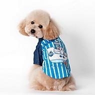 halpa -Koira T-paita Koiran vaatteet Raita Sininen Pinkki Puuvilla Teryleeni Asu Lemmikit Miesten Naisten