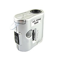 ZW-9592 Mini 60X Magnification Microscope with LED Flashlight / Currency Detection Light (3 x LR43)