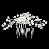abordables Tocados-peinetas de perlas de cristal de plata para joyería de la señora banquete de boda