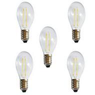 お買い得  -5個 2 W 180 lm E26 / E27 フィラメントタイプLED電球 A60(A19) 2 LEDビーズ COB 装飾用 温白色 / クールホワイト 220-240 V / RoHs