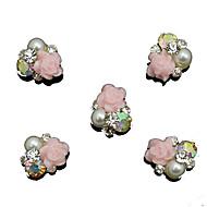 10pcs μαργαριτάρι ροζ τριαντάφυλλο λουλούδι 3d rhinestone διακόσμηση diy αξεσουάρ καρφί τέχνης