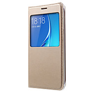 cheap Galaxy J Series Cases / Covers-DE JI Case For Samsung Galaxy Samsung Galaxy Case with Windows / Flip Full Body Cases Solid Colored Hard PU Leather for J7 (2016) / J7 / J5 (2016)