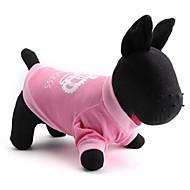 お買い得  -ネコ 犬 Tシャツ 犬用ウェア ティアラ、クラウン ピンク コットン コスチューム ペット用 男性用 女性用 ファッション