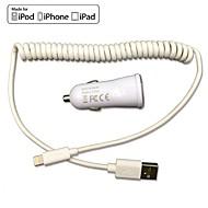 お買い得  -iphone 6 iPhone5のipadのためのFCC、CE認定車の充電器1A / 2.1A出力ダブル+りんごMFI認定雷スプリングケーブル