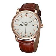 FORSINING Heren Dress horloge mechanische horloges Kalender Hol Gegraveerd Automatisch opwindmechanisme Leer Band Luxueus Zwart Bruin
