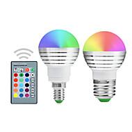 お買い得  LED ボール型電球-YWXLIGHT® 2pcs 5 W 300 lm E14 / E26 / E27 LEDボール型電球 1 LEDビーズ 集積LED 調光可能 / リモコン操作 / 装飾用 RGB 220-240 V / 110-130 V / 85-265 V / # / 2個 / RoHs
