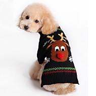 Cica Kutya Pulóverek Karácsony Kutyaruházat Karácsony Újévi Rénszarvas Fekete Piros Jelmez Háziállatok számára