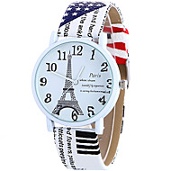 Dames Modieus horloge Polshorloge Vrijetijdshorloge Kwarts / Leer Band Informeel Eiffeltoren Cool Wit Blauw Bruin roze