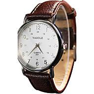 Недорогие Фирменные часы-YAZOLE Жен. Для пары Наручные часы Кварцевый Повседневные часы Cool / PU Группа Аналоговый Дамы Винтаж На каждый день Черный / Белый / Красный - Черный Коричневый Красный