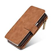 Недорогие Чехлы и кейсы для Samsung-Кейс для Назначение SSamsung Galaxy Кейс для  Samsung Galaxy Бумажник для карт Кошелек со стендом Флип Магнитный Чехол Сплошной цвет