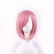 olcso -Női Szintetikus parókák Rövid Egyenes Rózsaszín Oldalsó rész Bob frizura Bretonnal Jelmez paróka Halloween paróka Carnival Paróka jelmez