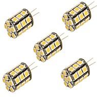 billige -YouOKLight 5pcs 3000/6000 lm G4 LED-lamper med G-sokkel T 27 leds SMD 5050 Dekorativ Varm hvit Kjølig hvit DC 12 V