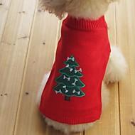 Kat Hond Truien Hondenkleding Acrylvezel Katoen Lente/Herfst Winter Houd Warm Kerstmis Nieuwjaar Sneeuwvlok Zwart Geel Rood Blauw Voor