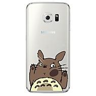 olcso Galaxy S4 tokok-Case Kompatibilitás Samsung Galaxy Samsung Galaxy S7 Edge Átlátszó Minta Fekete tok Rajzfilm Puha TPU mert S7 edge S7 S6 edge plus S6