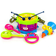 cheap Toys & Hobbies-Music Toys Drum Set Toy Instruments Hand Bells Speaker Tambourine Educational Toy Toys Drum Set Plastic ABS 5 Pieces Children's Birthday