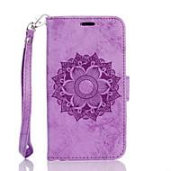 Для Кейс для  Samsung Galaxy Кошелек / Бумажник для карт / со стендом / Флип / Рельефный / С узором Кейс для Чехол Кейс для Цветы Твердый