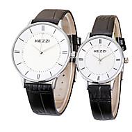 Недорогие Фирменные часы-KEZZI Для пары Наручные часы Кварцевый Черный / Белый / Коричневый Горячая распродажа Cool / Аналоговый На каждый день минималист - Белый Черный Коричневый