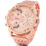 Недорогие Фирменные часы-Oulm Муж. Наручные часы С двумя часовыми поясами / Cool сплав Группа Роскошь / На каждый день Черный / Серебристый металл / Золотистый