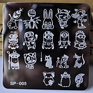nieuwe manicure template nagel stempelen platen stripfiguren ontwerpen afbeelding disc transferprint