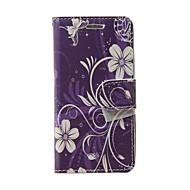 For Pung / Kortholder / Med stativ / Flip Etui Heldækkende Etui Blomst Blødt Kunstlæder for Samsung S Advance / Grand Neo