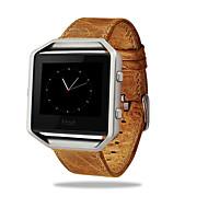 роскошный натуральная кожа пряжки спортивные часы группа ремешок металлический каркас для Fitbit полыхают смарт-часы
