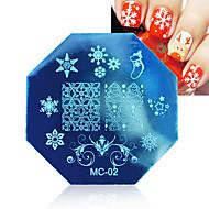 abordables Estampados de Uñas-Arte del clavo 1pcs navidad estampar placas plantilla de imagen con sello