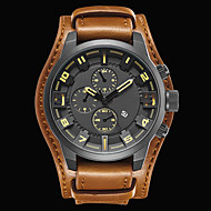 cheap Dress Watches-Men's Sport Watch Fashion Watch Dress Watch Quartz Japanese Quartz Genuine Leather Band Material Black / Brown 30 m Water Resistant / Water Proof Calendar / date / day Cool Analog Charm Luxury / #