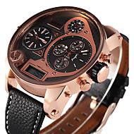 Недорогие Фирменные часы-Oulm Муж. Армейские часы / Наручные часы LED / С тремя часовыми поясами / Cool PU Группа Роскошь / На каждый день Черный / Коричневый