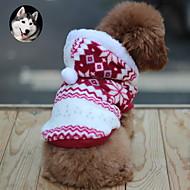 povoljno -Mačka Pas Kaputi Hoodies Odjeća za psa Snowflake Braon Crvena Plava Pamuk Kostim Za kućne ljubimce Muškarci Žene Ugrijati Moda