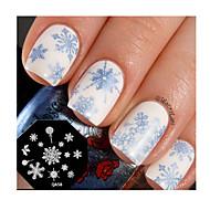 abordables Estampados de Uñas-sello de uñas de arte plantilla de la placa de estampado de uñas lindo del copo de nieve diseño de herramientas