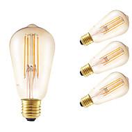 お買い得  -GMY® 4本 350lm E26 / E27 フィラメントタイプLED電球 ST58 4 LEDビーズ COB 調光可能 装飾用 アンバー 220-240V