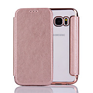 cheap Cases / Covers for Samsung-Case For Samsung Galaxy S7 edge S7 Flip Full Body Cases Solid Color Hard PU Leather for S7 edge S7 S6 edge S6