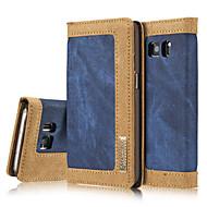 お買い得  Samsung 用 ケース/カバー-ケース 用途 Samsung Galaxy Samsung Galaxy S7 Edge カードホルダー ウォレット スタンド付き フリップ 磁石バックル フルボディーケース 純色 ハード 繊維 のために S7 edge S7 S6 edge S6