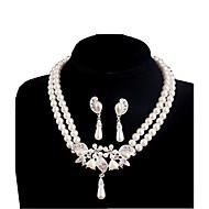 billige -Smykker 1 Halskæde 1 Par Øreringe Perle Lyserød Daglig Perle 1set Dame Hvid Wedding Gaver