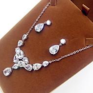 abordables -Mujer Zirconia Cúbica Conjunto de joyas Perla, Zirconio, Zirconia Cúbica Incluir Plata Para Fiesta / Pendientes / Collare